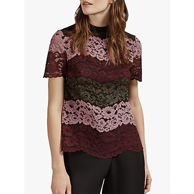 Ted Baker Merzey Lace Short Sleeve Top, Red Bordeaux