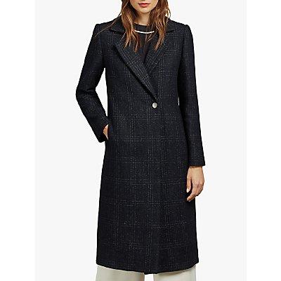 Ted Baker Jojoe Check Wool Blend Coat, Navy