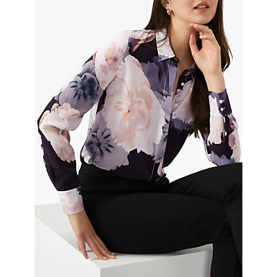Pure Collection Silk Floral Relaxed Blouse, Pink/Black