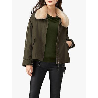 Pure Collection Faux Fur Collar Parka Jacket, Khaki