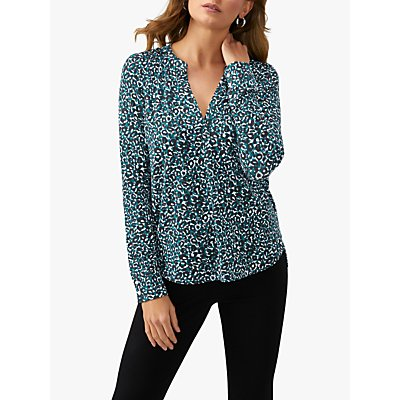 Pure Collection Leopard Print Jersey V-Neck Top, Green/Multi