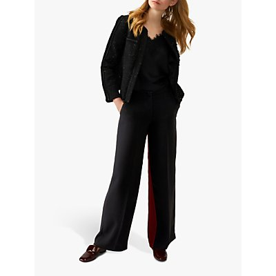 Pure Collection Wide Leg Stripe Trousers, Black/Burgundy