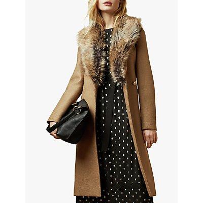 Ted Baker Corinna Faux Fur Trim Wool Coat, Brown Tan