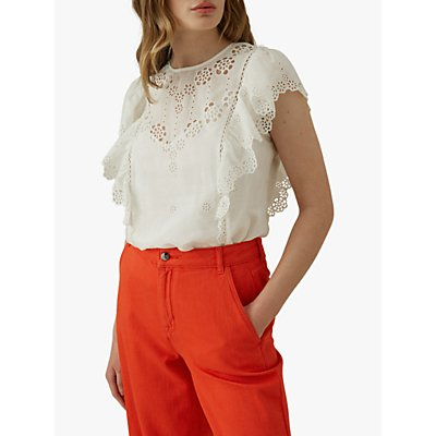 Karen Millen Broderie Cotton Blend Top, White