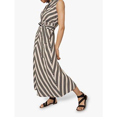 Karen Millen Striped Midi Dress, White/Multi