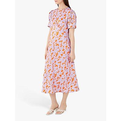 Finery Kamila Megan Abstract Print Midi Dress, Orange/Multi