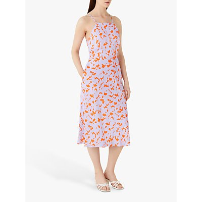 Finery Kamila Abstract Halterneck Midi Dress, Orange/Multi