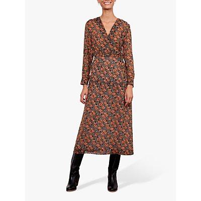 Gerard Darel Dena Floral Print Midi Dress, Black/Multi