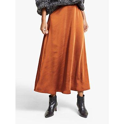 Gestuz Kamryn Satin Maxi Skirt, Orange
