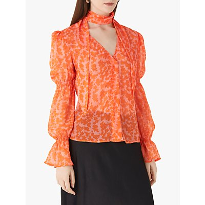 Finery Maygrove Neck Tie Abstract Print Chiffon Blouse
