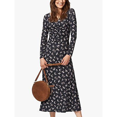 Brora Liberty of London Jersey Ruched Midi Dress, Midnight Floral
