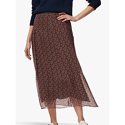 Brora Liberty Print Silk Chiffon Maxi Skirt, Mist Poppy