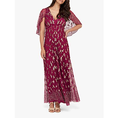 Monsoon Keira Embellished Cape Maxi Dress, Rust