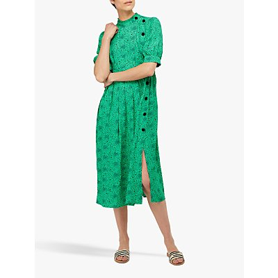 Monsoon Celleni Star Print Midi Dress, Green