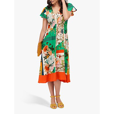 Monsoon Paloma Patchwork and Floral Print Midi Dress, Green/Multi