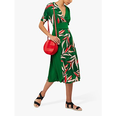 Monsoon Lorna Leaf Print Dress, Green