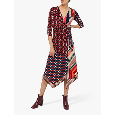 Monsoon Kelsie Patch Print Midi Jersey Dress, Navy