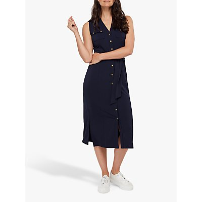 Monsoon Bianca Jersey Button Down Dress, Navy