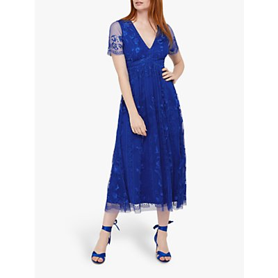 Monsoon Valentina Embroidered Midi Dress, Cobalt