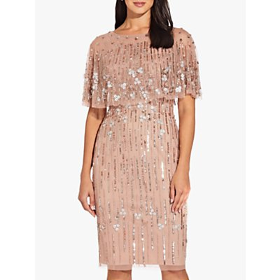 Adrianna Papell Beaded Cape Dress, Rose Gold