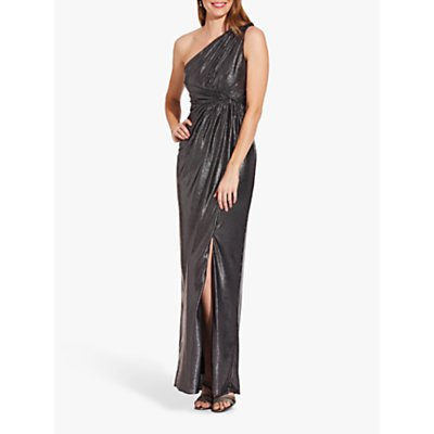 Adrianna Papell Metallic Asymmetric Neck Pleat Detail Maxi Dress, Gunmetal