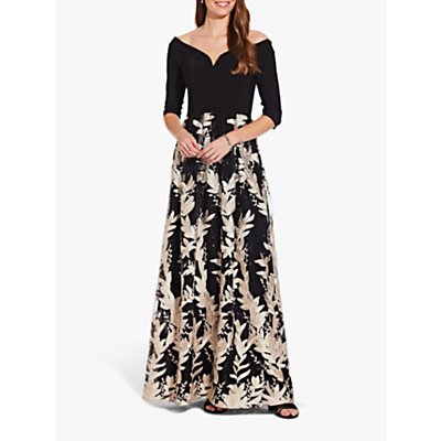 Adrianna Papell Jersey Embroidered Dress, Black/Cream