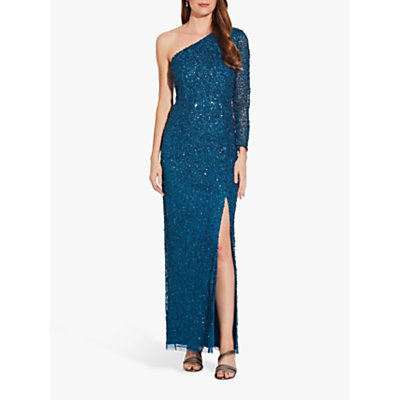 Adrianna Papell Beaded One Shoulder Column Gown, Teal Sapphire