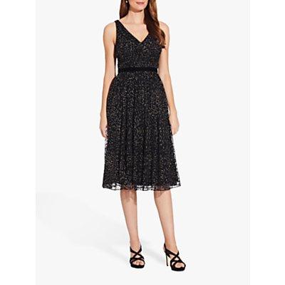 Adrianna Papell Glitter V-Neck Dress, Black/Gold