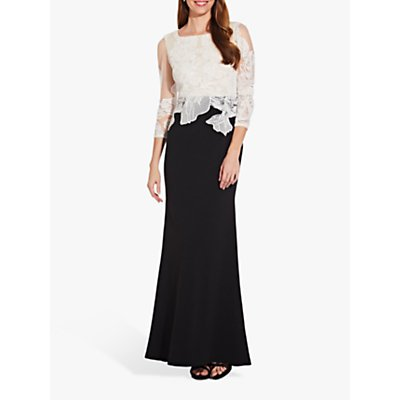 Adrianna Papell Embroidered Dress, Black/Ivory