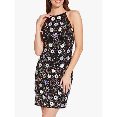 Adrianna Papell Petal Embellished Sheath Dress, Black/Multi