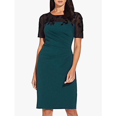 Adrianna Papell Velvet Floral Crepe Sheath Dress, Hunter Green/Black