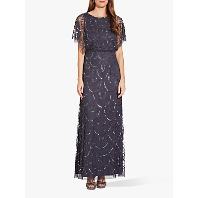 Adrianna Papell Beaded Blouson Dress, Gumetal