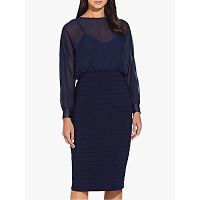 Adrianna Papell Matte Blouson Dress, Midnight