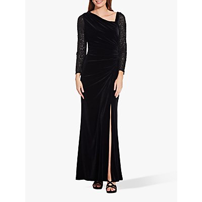 Adrianna Papell Velvet Sequin Dress, Black