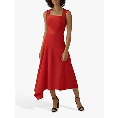 Karen Millen Draped Midi Dress, Red