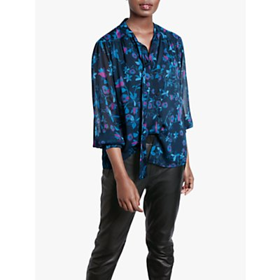 hush Silvie Floral Tie Blouse, Nature Floral State
