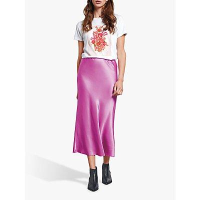 hush Simone Slinky Midi Skirt, Neon Purple