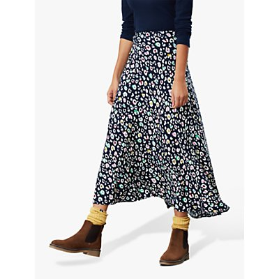 Joules Coletta Leopard Print Bias Cut Midi Skirt, French Navy