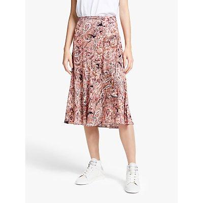 AND/OR Paisley Print Midi Skirt, Pink/Multi
