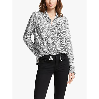AND/OR Nelly Batik Floral Blouse, Black/White