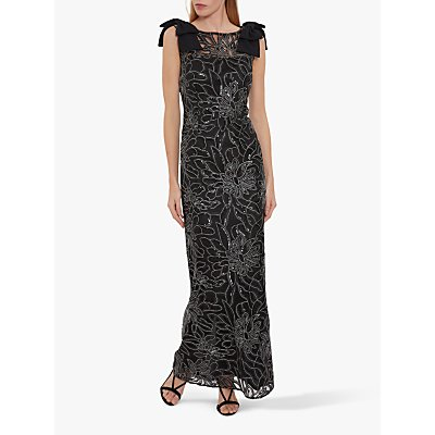 Gina Bacconi Atira Embroidered Bow Detail Maxi Dress, Black