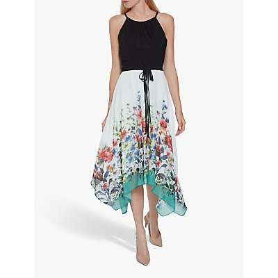 Gina Bacconi Doreen Floral Hanky Hem Dress, Black