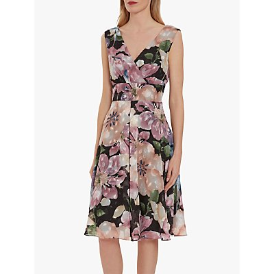 Gina Bacconi Camellia Floral Wrap Dress, Black/Rose