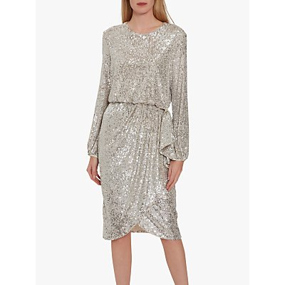 Gina Bacconi Pieta Sequin Dress, Silver