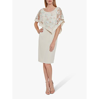 Gina Bacconi Halsey Embroidered Overlay Dress, Natural/Pink