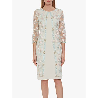 Gina Bacconi Haila Embroidered Mesh Dress, Turquoise/Pink