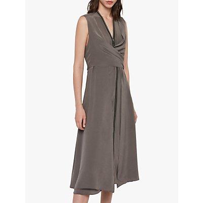 AllSaints Jayda Zip Silk Midi Dress, Birch