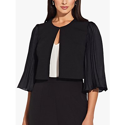 Adrianna Papell Pleated Sleeve Cropped Tailored Jacket, Black