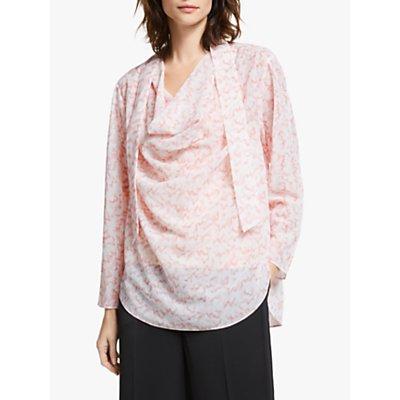 Modern Rarity Wave Print Cowl Neck Top, Pink