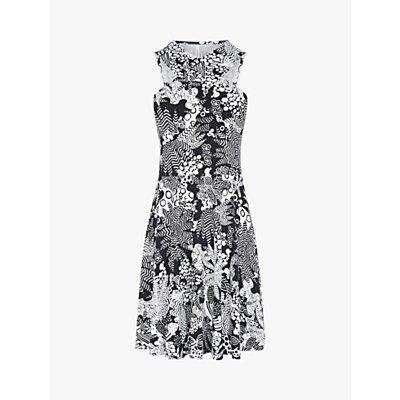 Karen Millen Printed Halterneck Dress, Black/White